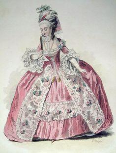 Duchesse, Règne De Louis XVI, D´Après Moreau, 1783 P010077 France. Original lithograph drawn and engraved by Polydore Pauquet. 1864. http://www.antique-prints.de/shop/catalog.php?cat=KAT13&lang=ENG&product=P010077