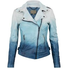 Muubaa Dip Dyed Leather Biker in Ocean Blue (€220) ❤ liked on Polyvore featuring outerwear, jackets, leather jacket, casacos, blue moto jackets, fleece-lined jackets, blue jackets, blue leather jackets and leather moto jacket