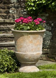 The simplicity and earthiness of this Campania International Lipari Urn Planter - Set of 2 - Antico Terra Cotta make it a fitting place to put bright. Garden Urns, Garden Fountains, Fiberglass Planters, Urn Planters, Classic Garden, Cast Stone, Bright Flowers, Glazes For Pottery, Garden Structures