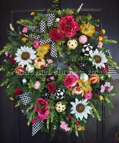 Spring-Summer Wreath-Black/White check-Petals & Plumes 2011©