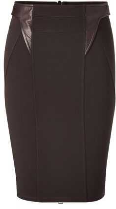 Givenchy Brown Dark Brown Pencil Skirt With Gold TwoWay Zip Back