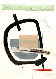 Fry Up by Sue Ninham, collage and mixed media on paper, 50 x 70 cm