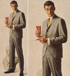 """Late men abandoned the gray flannel suit for the continental suit. The """"new suits"""" were shorter jackets, a closer fit through the torso, and rounded, cutaway jacket fronts. 1950s Mens Fashion Suits, 1950s Mens Suits, 1950s Fashion Menswear, Flannel Suit, Grey Flannel, Mode Style, Mad Men, Look Fashion, 1950s"""