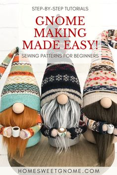 Cute Crafts, Felt Crafts, Diy Crafts, Christmas Gnome, Christmas Crafts, Gnome Tutorial, Crafty Craft, Crafting, Crafts To Make And Sell