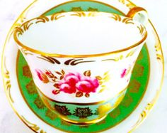RESERVED FOR A-Aynsley Gold Scroll Jade Green Rose Tea Cup and Saucer - Edit Listing - Etsy