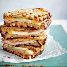 """This playful turkey melt's abundant crisp crevices and gooey interior will have the whole family wondering, """"What can we waffle next?"""" Turkey Panini, Turkey Burgers, Easy Sandwich Recipes, Grilled Sandwich Recipe, Panini Recipes, Sandwich Ideas, Weekday Meals, Dinner Sandwiches, Healthy Sandwiches"""