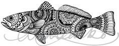B&W Zentangle Speckled Sea Trout Laminated 3M Decal by andrealarko
