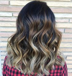 Black-Brown Wavy Hair with Caramel, Beige, and Pale-Blonde Balayage