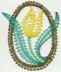 Bobbin Lace Patterns, Crochet Flower Patterns, Crochet Flowers, Turquoise Necklace, Beaded Necklace, Teneriffe, Bobbin Lacemaking, Lace Heart, Lace Jewelry