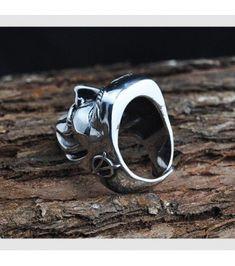 Ring Engine Piston Pleated Design Men/'s Biker In Oxidized 925 Sterling Silver