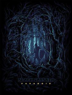 Black Sabbath Limited Silkscreen Paranoid by Dan Mumford Rock Posters, Concert Posters, Screen Print Poster, Poster Prints, Dan Mumford, Rock Y Metal, Heavy Metal Art, Classic Album Covers, Satanic Art