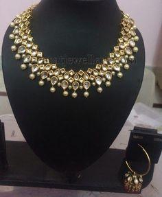 Imitation Kundan Necklace with Hoops | Jewellery Designs