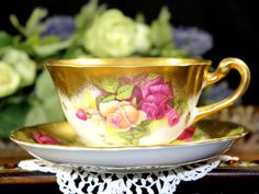 Royal Chelsea Golden Rose Bone China Teacup by TheVintageTeacup