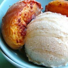 Grilled peaches with Cinnamon Vanilla Bean Ice Cream