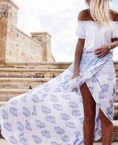 blue & white wrap skirt.