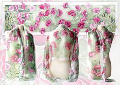 Long silk scarf Poppies is a hand painted silk scarves with green background and pink & red poppies and a white frame. This summer scarf is very