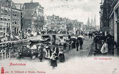 Amsterdam, De Lindengracht vóór 1895, met op de voorgrond de Zaterdagse brug, daarachter de brug over de Brouwersgracht. De Lindengracht is in 1895 gedempt, wat ook het einde betekende voor de Zaterdagse brug.