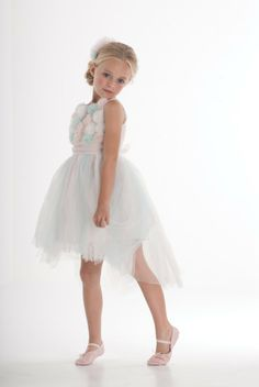 Biscotti Origami Garden Dress in sizes 2 - This gorgeous dress is perfect for your little prima ballerina. An absolute showstopper in sparkle tulle, it features a bodice covered in flowers and a dramatic high- low hemline. Little Girl Dresses, Girls Dresses, Flower Girl Dresses, Biscotti, Origami, Girls Designer Dresses, Masquerade Dresses, Ballerina Dress, Garden Dress