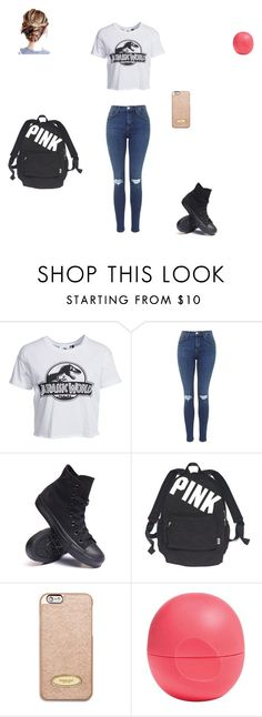 """""""Downtown"""" by abbyybautista ❤ liked on Polyvore featuring New Look, Converse, Victoria's Secret, MICHAEL Michael Kors and Eos"""