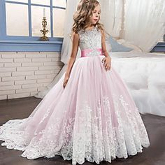 Purple Lace Flower Girls Dresses For Weddings Beads Ball Gown First Communion Dress Sweep Train Little Girls Pageant Gowns Girls Dresses Online, Girls Pageant Dresses, Pageant Gowns, Girls Party Dress, Ball Dresses, Ball Gowns, Party Dresses, Baby Pageant, Dress Party