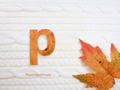 Lowercase letter p with glitter leaf and sweater knit. #fall #autumn #alphabet #typography #initial #monogram #font   maple leaf