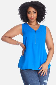 Fashion is a state of mind, not a size range. Shop Fashion to Figure for the latest looks in women's plus size clothing, dresses, tops, jeans and pants. Curvy Women Fashion, Womens Fashion, Fashion To Figure, Plus Size Outfits, Curves, V Neck, Zip, My Style, Clothes