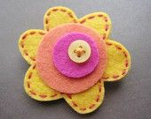 Mod Little Posey - Sweet Citrus - felt brooch from solielgirl