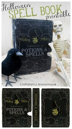 DIY Witch's Spell Book Tutorial and Printable from Craftaholics Anonymous. TIP: When downloading a jpeg printable from a site click the magnifier (+ sign) to enlarge the image to get the largest size. For more Halloweeen printables go here.