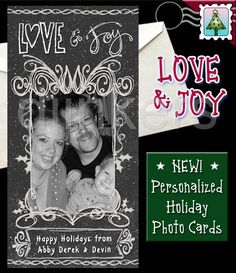 holiday photo card, christmas photo card, custom card, personalized card, chalkboard card