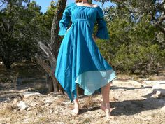 Gypsy Dress Layered With Sleeves Pirate Wench Renaissance Costume Blue. YES!