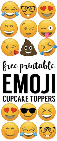 Emoji Cupcake Toppers Free Printable. Emoji cupcake or straw toppers for emoji birthday party decor. Easy cheap emoji party supplies.