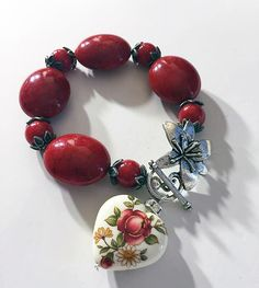 RED beaded bracelet by AjaBoutique on Etsy