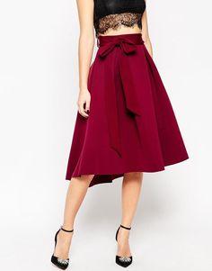 ASOS Premium Occasion Bonded Midi Prom Skirt in Berry UK 12/EU 40/US 8