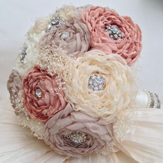 BROOCH ARTIFICIAL WEDDING BRIDE BOUQUET FABRIC ROSES COUNTRY CHIC | eBay