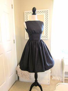 Lovely Black Shantung 1950s Vintage Style Dress by TenderLane, $165.00