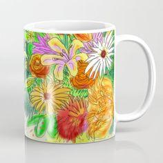 Flowers of Love Vs Hate Coffee Mug by Slane Cartoons - 11 oz Wraparound, Microwave, Dishwasher, Coffee Mugs, Hate, Cups, Cartoons, Construction, Ceramics