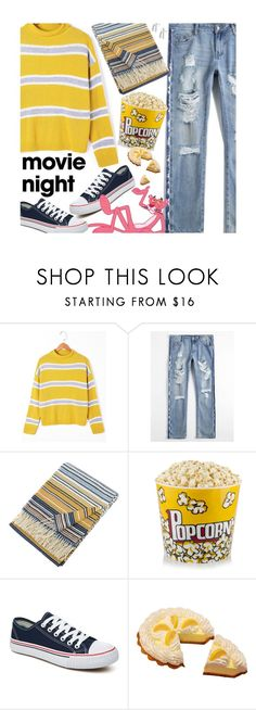 """""""Bring the Popcorn: Movie Night"""" by beebeely-look ❤ liked on Polyvore featuring Missoni Home, Sweater, movieNight, distresseddenim and stripedshirt"""