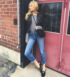 THE LEATHER JACKET: A timeless staple, the leather jacket is a favorite amongst models and street style stars alike. Elsa Hosk sports a cropped version for this Instagram snap.