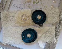 Wedding Garter - Bridal Garter - Teal Blue and Ivory Rosette Garter- Keepsake and Toss Garter Set