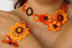 Summer crochet necklace and bracelet set in light orange , flower chocker and bracelet set crochet on Etsy, $38.00