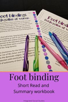 An important aspect to Asian women's history is the grotesque practice of footbinding. Learn about the history of the practice and its implications for women in Chinese history. This resource also includes a summary workbook that is both Common Core-aligned and focuses on historical thinking skills. Check out all the details in my TpT store.