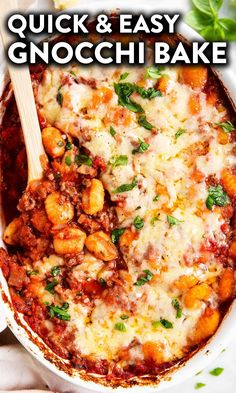 Make this easy Bolognese-inspired Gnocchi Bake when you're pressed for time – the casserole is quick to assemble and turns out into a wonderful family meal.   #casserole #easydinner #dinner #groundbeef