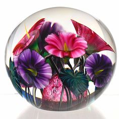 """Pink & Purple Flowers with Vines Art-Glass Magnum Paperweight Signed & Created by James Lotton 