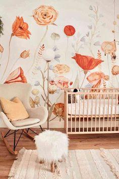 Baby Design, Nursery Design, Baby Room Decor, Nursery Room, Kids Bedroom, Nursery Murals, Girl Nursery Art, Baby Nursery Rugs, Whimsical Nursery