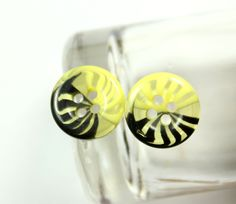 Lovely Plastic Buttons - Translucent Black and Lemon Yellow Color Fringe Plastic Buttons.  0.51 inch. 10 pcs by Lyanwood, $3.00