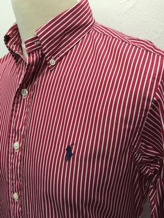Polo #RalphLauren #Mens #Shirt Small Custom Fit Red White Bengal #Striped Cotton #menswear #mensfashion #mensstyle
