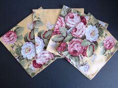 Ralph Lauren Kathleen Napkins - Set of 4 - Pink White Rose Peonies on Bright Yellow - Shabby Chic Country Cottage Chic - Retired Pattern by shabbyshopgirls on Etsy