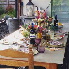Bohemian table setting, high wine
