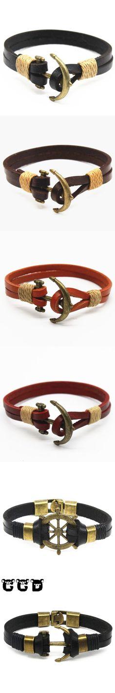 2017 New Fashion Pop bronze Bracelets For Men High Quality Leather Anchor Bracelet Popular Knighthood Friendship Charm Bracelets