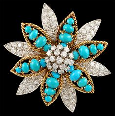 DAVID WEBB Two Tone Turquoise & Diamond Brooch - Yafa Jewelry